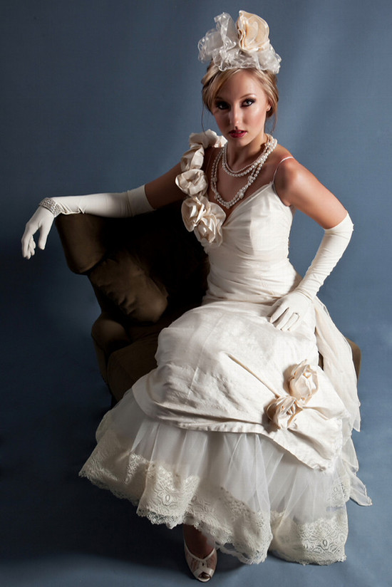 1940s bridal look- Chanel neck treatment, v-neck ivory wedding dress with rosette details