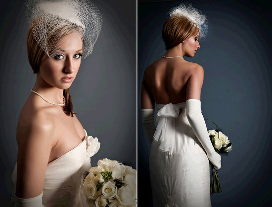 Venise lace borders gorgeous bridal fascinator; strapless sheath wedding dress with rosette accent