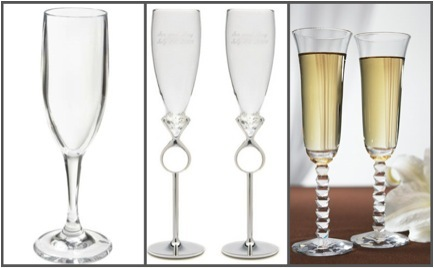 These three sets of champagne toasting flutes all show different styles and are perfect for adding e