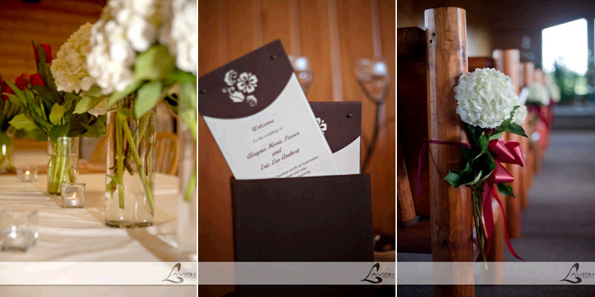 Wedding-details-chocolate-brown-ivory-red-wedding-programs-red-ribbon-white-flowers-in-church-floral-centerpieces.full