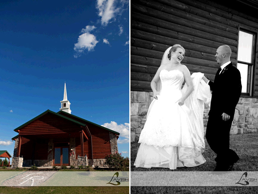 Rustic chapel reminiscent of a log cabin; bride and groom get playful while wearing their wedding ga