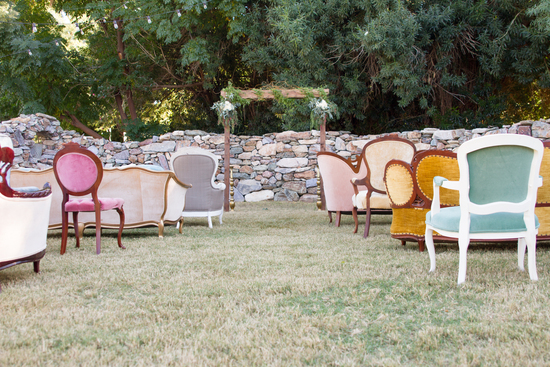 Vintage seating for ceremony