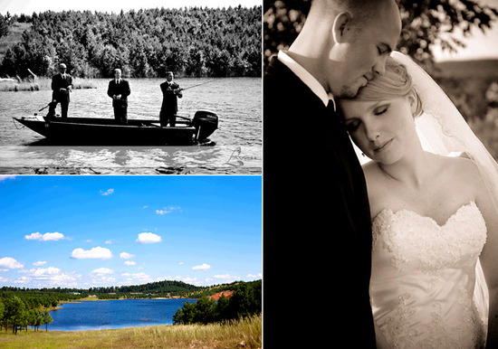 Rustic wedding in Southern Arkansas- groomsmen wear tuxedos while fishing on a canoe; perfect blue s