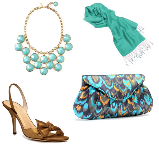 Incorporate pops of color- Kate Spade bib necklace, Dessy turquoise pashmina, Lauren Merkin feather