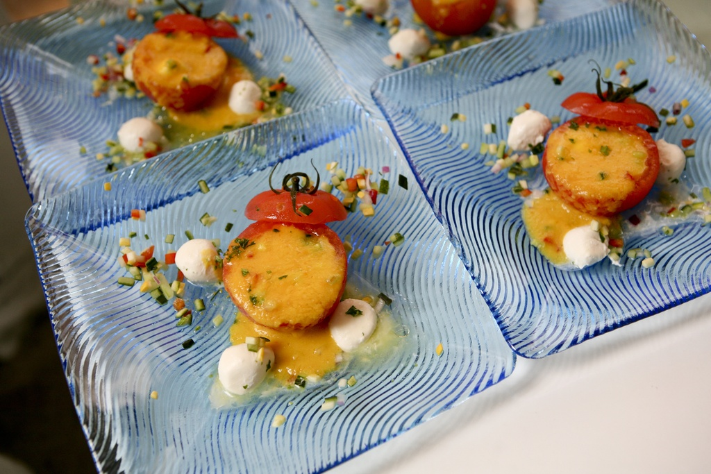 These beautiful tomato and mozzarella napoleans show that wedding food can be stylish and sustainabl