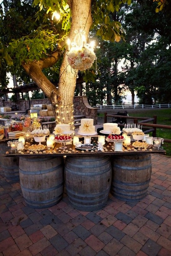 Wine Barrels Dessert Table