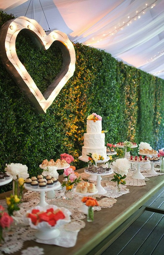 Heart dessert table