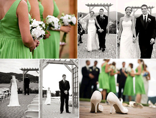 Bridesmaids in bright green bridesmaids dresses hold white and green bouquets; bride and groom smile