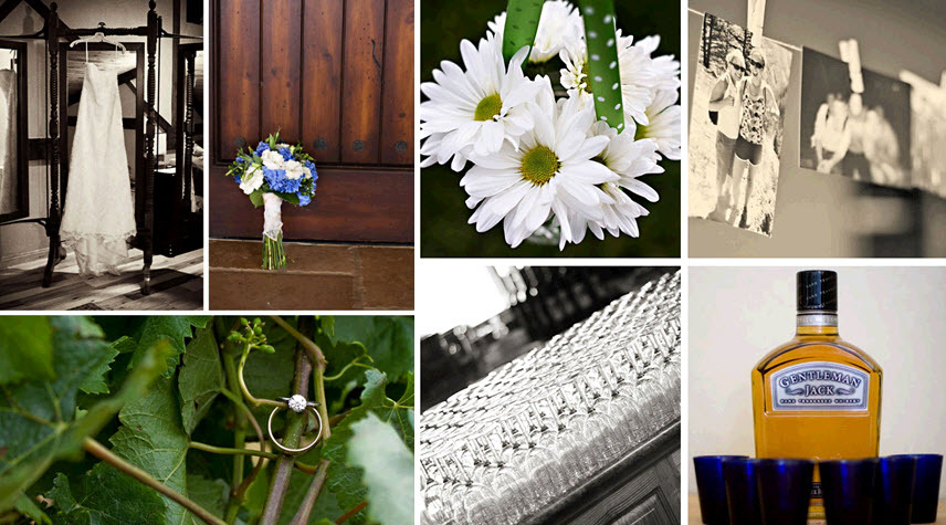 Rustic-chic-outdoor-wedding-at-vineyard-wedding-details-daisies-blue-white-bridal-bouquet-diamond-engagement-ring-on-green-leaves.full