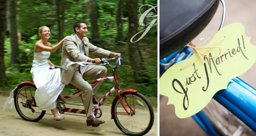Just Married! Bride and groom arrive on adorable (and green) tandem bike