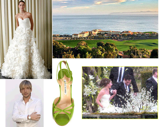 Wedding details from Jason Mesnick's wedding- Monique Lhuillier wedding dress, Manolo Blahnik open-t