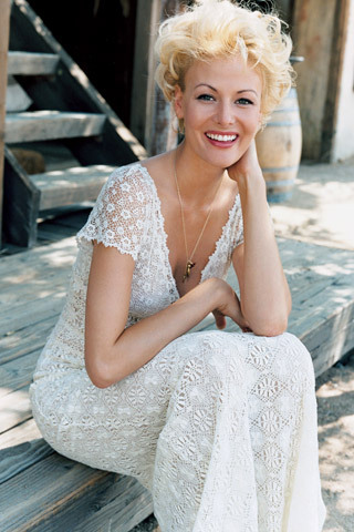 for a backyard rustic chic wedding, casual lace v-neck wedding dress
