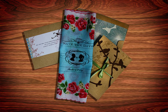 Gorgeous white, aqua and red floral handkerchief save-the-dates