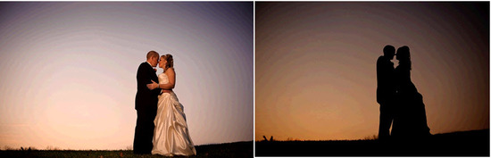 "Bride and groom kiss on hill during beautiful sunset after saying ""I Do"""
