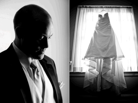 Groom prepares to say I Do, wearing formal black tuxedo; bride's white wedding dress hangs in window