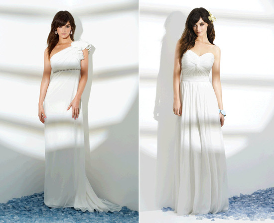 White assymetrical one shoulder wedding dress from Dessy; Grecian-inspired white Sandals destination