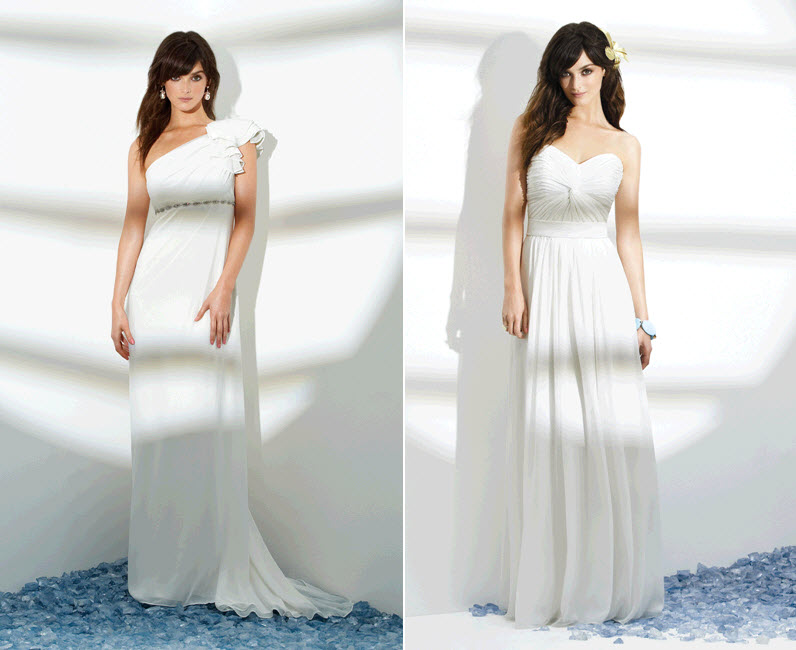 White Assymetrical One Shoulder Wedding Dress From Dessy Grecian Inspired Wh