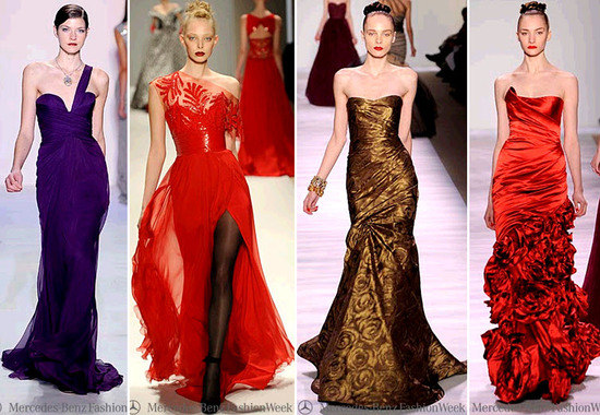 Vibrant dresses from NY Fashion Week- regal purple, bright red, cooper gold