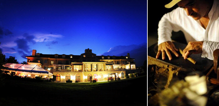 Gorgeous-keswick-hall-wedding-venue-lit-up-at-night-hand-rolled-cigars-station-at-wedding.full