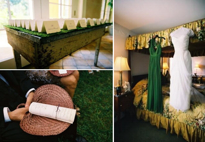 Natural-wood-green-grass-escort-table-white-wedding-dress-and-green-bridesmaids-dresses-hang-on-vintage-bed.full