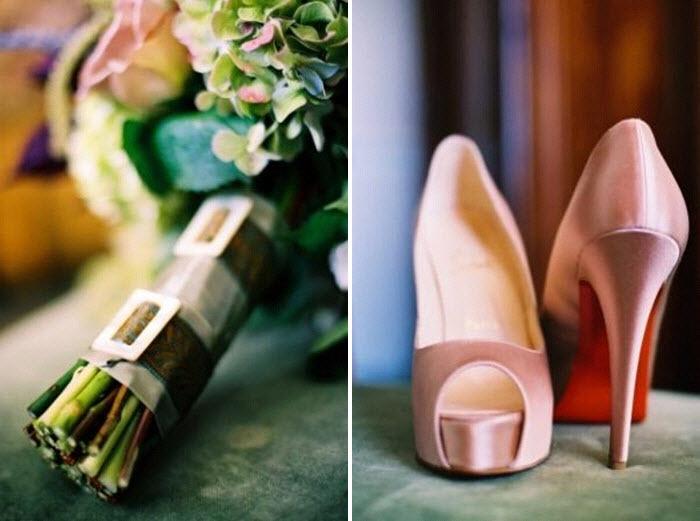 Whimsical-romantic-bridal-bouquet-green-pink-hydrandeas-roses-pink-christian-louboitons-bridal-peep-toe-heels.full