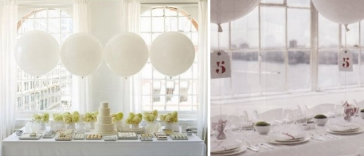 Beautiful white balloons are a chic way to decorate your wedding, and are eco-friendly too!