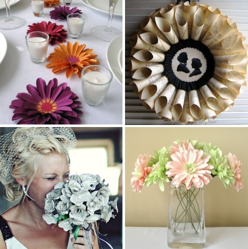 Get creative- gorgeous bridal bouquet and wedding table centerpieces made from recycled paper!