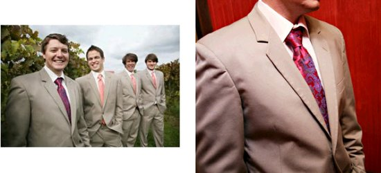 This groom and his groomsmen are showing their sense of style with tan suits and beautiful ties.
