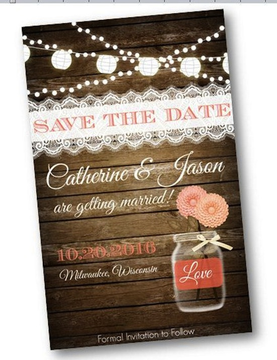 Save the Date Mason Jar