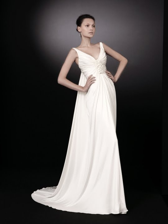 Beautiful white v neck wedding dress with gathered floral for Wedding dress for small bust