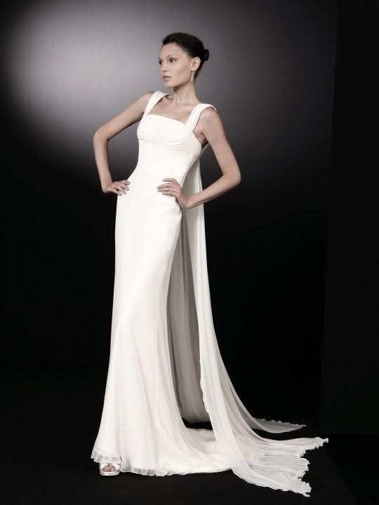 Inspired by architecture, this white square neck wedding dress is ...