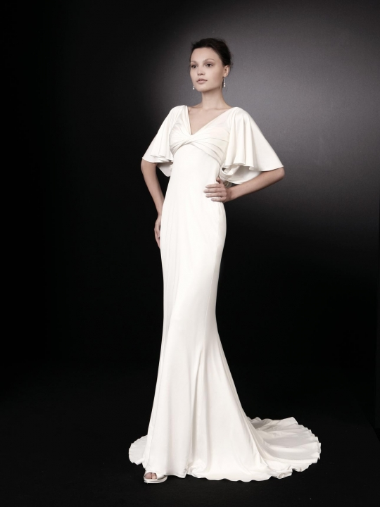 Chic V Neck White Wedding Dress By Peter Langner With