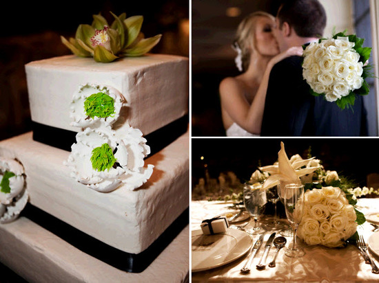 Three tier square white wedding cake adorned with black ribbon and white/lime green fondant flowers
