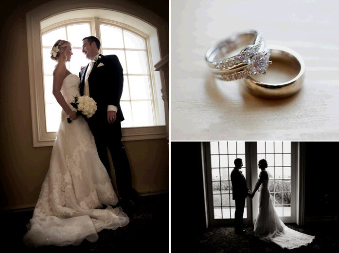 Bride in ivory strapless wedding dress looks lovingly at groom; gorgeous diamond engagement ring and