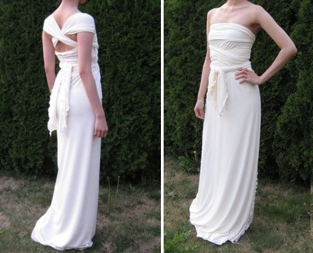photo of Grecian wrap dress, perfect for a beach wedding