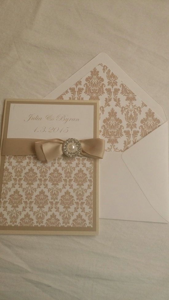damask wedding invitation and envelope liner