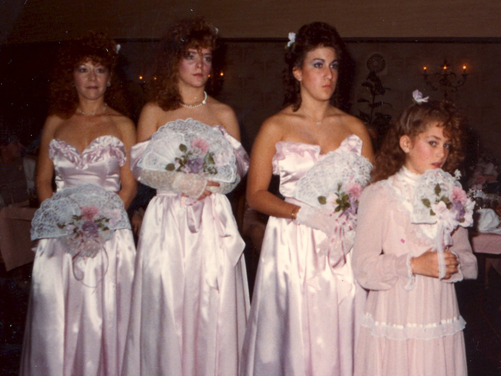 Are these frilly pink satin bridesmaids dresses a trend that's due for a comeback?