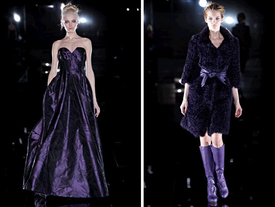 Regal jewel tone deep purple- big on Escada's catwalk, and in 2010 weddings!