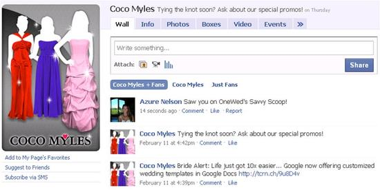 "Simply become a fan of Coco Myles on Facebook, and post ""Saw you on OneWed's Savvy Scoop"" to enter!"