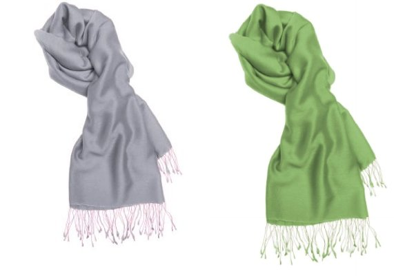 These light grey and sage green pashmina scarves would be perfect for your bridesmaids.