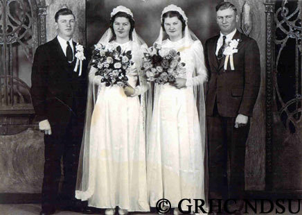 These couples look happy with their decision to plan a double wedding in identical wedding dresses a