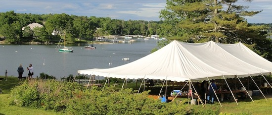 We can accommodate tents up to 40 x 80 feet for up to 150 people