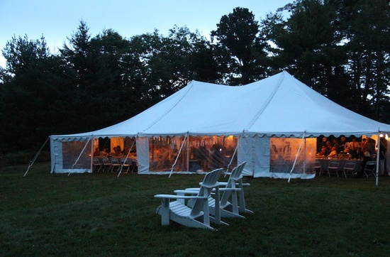 Tent on the lawn in the evening