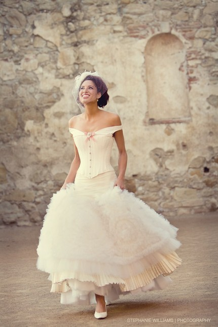 Gorgeous vintage-style off-the-shoulder ivory wedding dress by Joan Shum