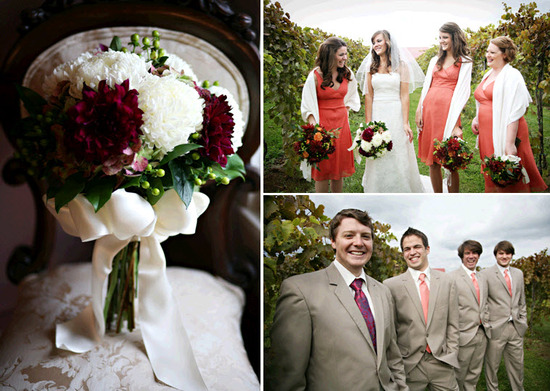 Stunning maroon and ivory bridal bouquet; bride poses with bridesmaids, who wear coral bridesmaids'