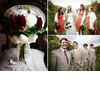 Outdoor-rustic-chic-wedding-at-vineyard-coral-white-taupe-morning-suits-on-groomsmen-dark-red-white-green-bridal-bouquet.square