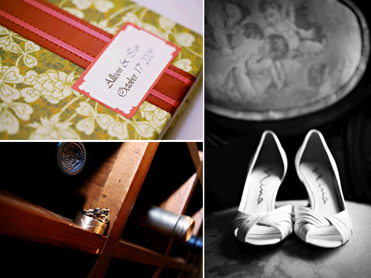 Vintage-chic-rustic-wedding-green-white-red-pink-floral-wedding-program-wedding-ring-detail-photo-nina-bridal-heels.full