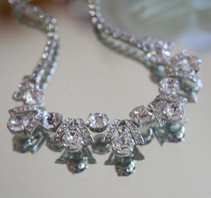 Vintage (and eco-friendly) antique rhinestone necklace for your wedding day