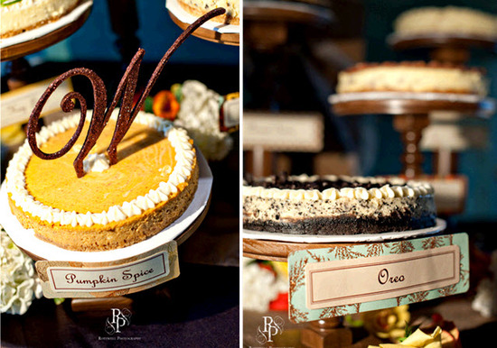 Decadent wedding pies on dessert table- monogram cake topper