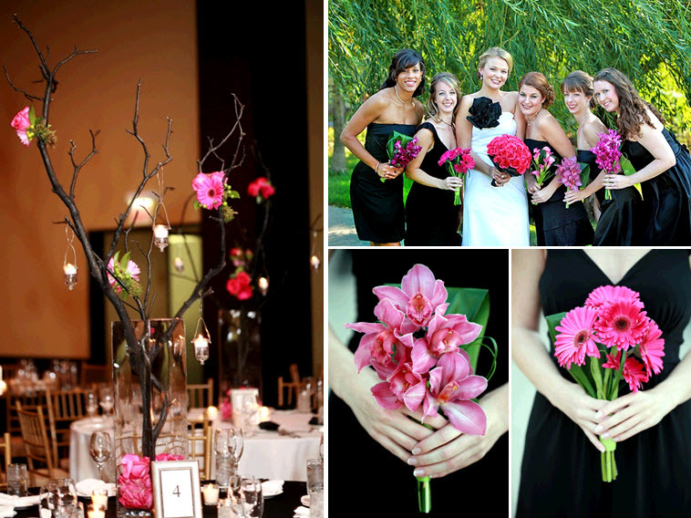 Vibrant-hot-pink-fuschia-red-wedding-flowers-bridal-bouquet-bridesmaids-mix-and-match.full